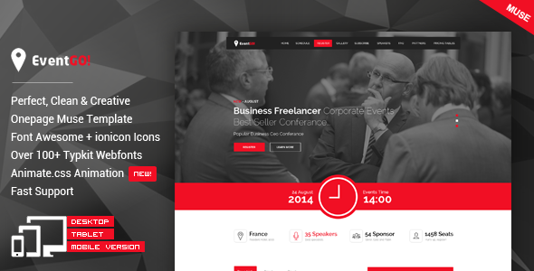 ThemeForest EventGO One Page Parallax Muse Theme 11712365
