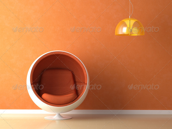 orange wall interior design - Stock Photo - Images