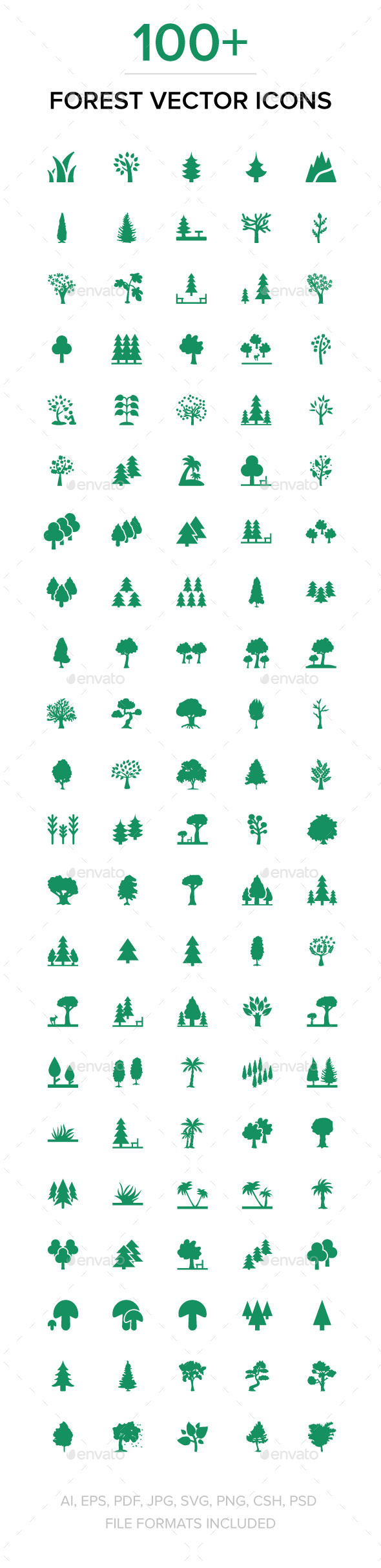 GraphicRiver 100& Forest Vector Icons 11712915
