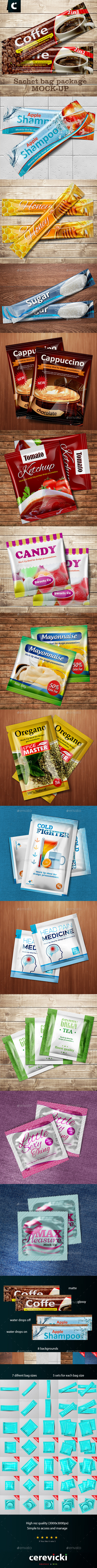 Sachet Foil bag package mock-up