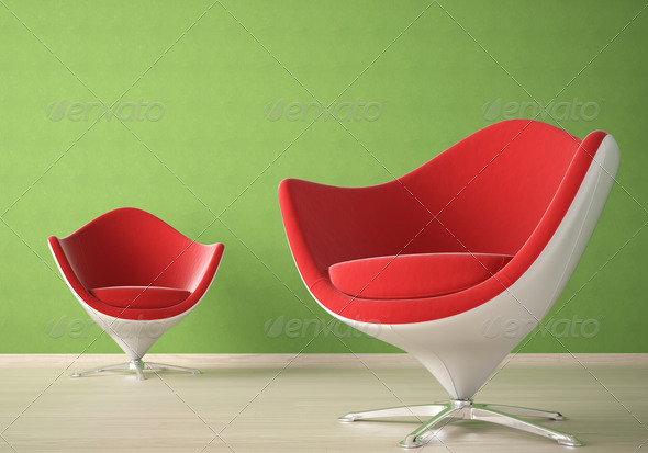 Interior design with 2 chairs - Stock Photo - Images
