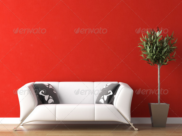 interior design of white couch on red wall - Stock Photo - Images