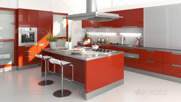 red kitchen - Stock Photo - Images