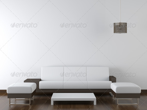 interior design modern white furniture on white wall - Stock Photo - Images