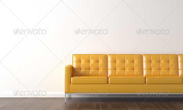 PhotoDune yellow couch on white wall 1176717