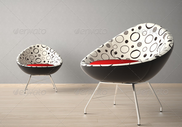 Two chairs on a grey wall - Stock Photo - Images