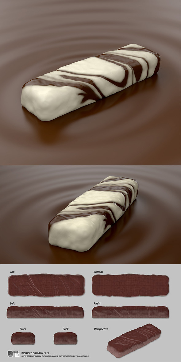 3DOcean Marbled Chocolate Bar on Mousse 11713268