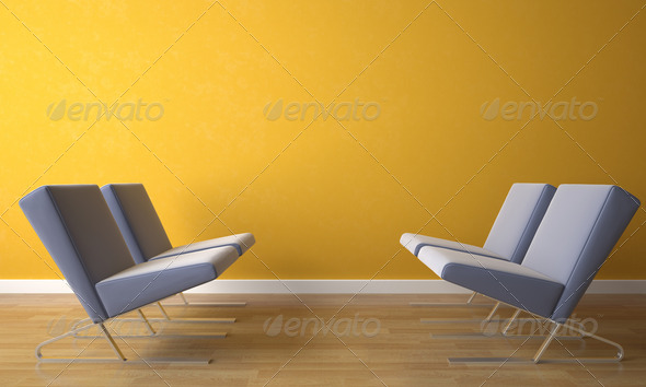 four chair on yellow wall