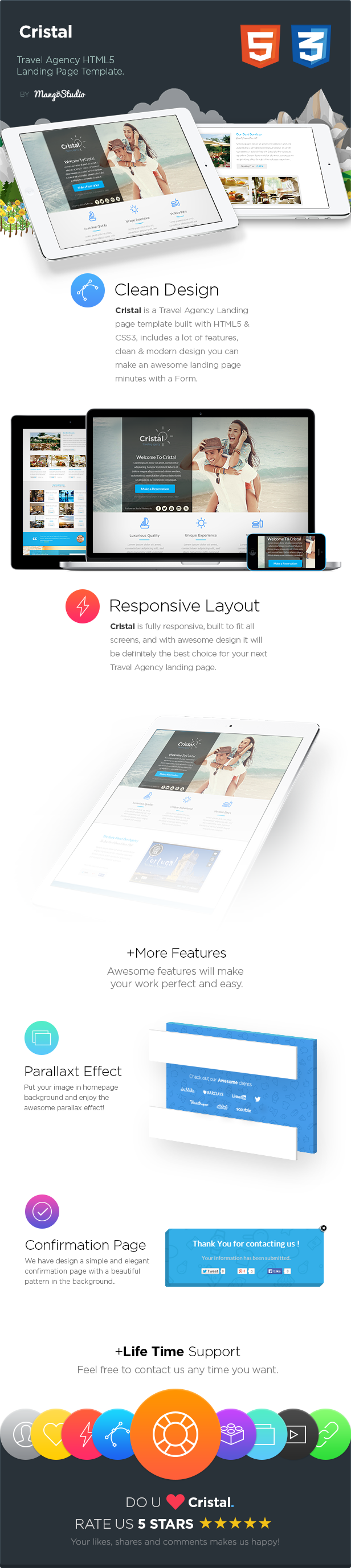 Cristal - Travel Agency HTML Landing Page Template