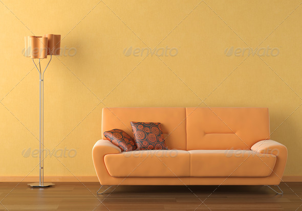orange interior design scene - Stock Photo - Images