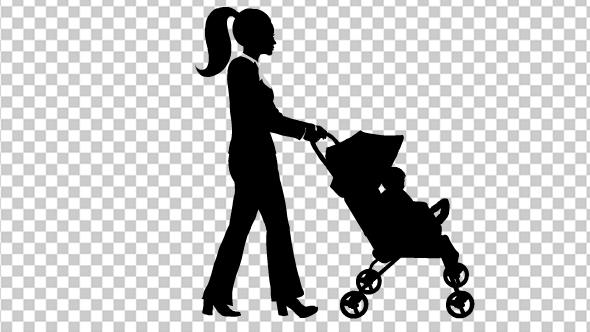 Woman Pushing Baby Cart