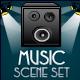 Music Set: Loudspeaker, Microphone & Lights - ActiveDen Item for Sale