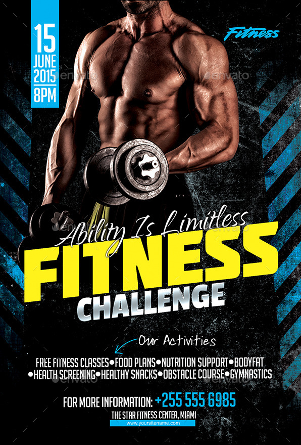 fitness challenge flyer by inddesigner