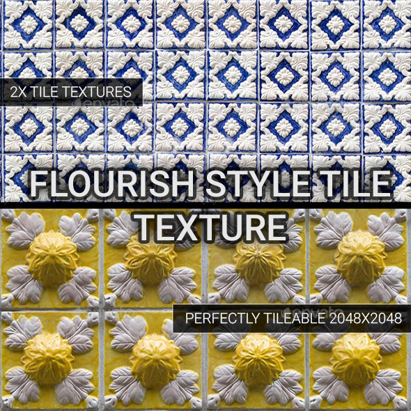 Flourish Style Tiles - 3DOcean Item for Sale