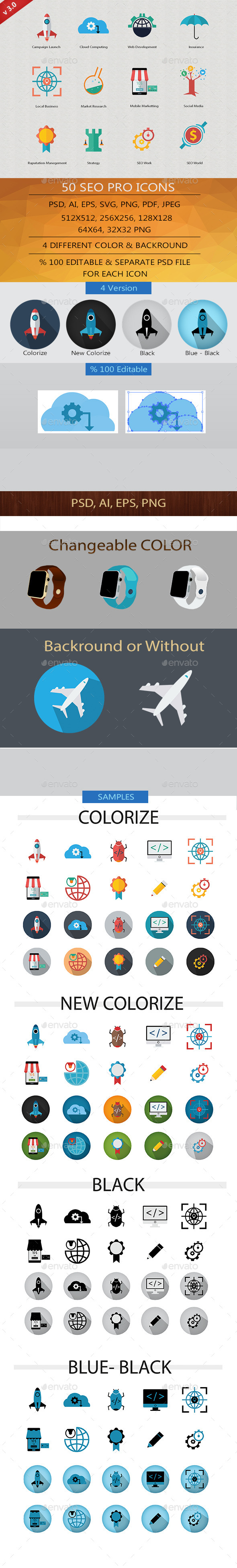GraphicRiver SEO Pro Icons v.3 11720757