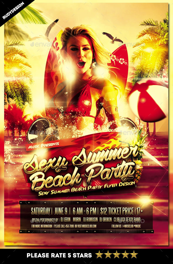 Sexy Summer Beach Party Flyer