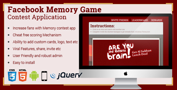 Facebook Memory Game Contest Application (Social Networking) Download