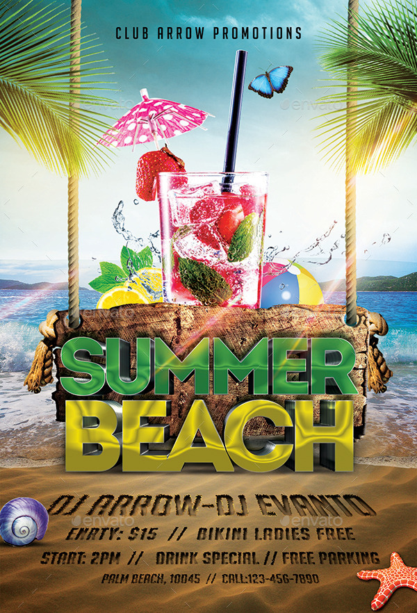 Summer Beach Party Flyer Template by Arrow3000 – Beach Party Flyer Template