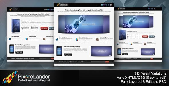 PixoreLander - Premium xHTML/CSS Landing Page