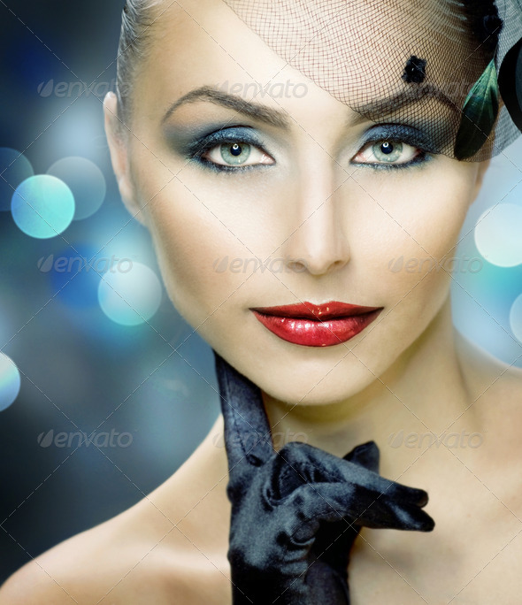 Young Woman Portrait. Vintage Make-up - Stock Photo - Images