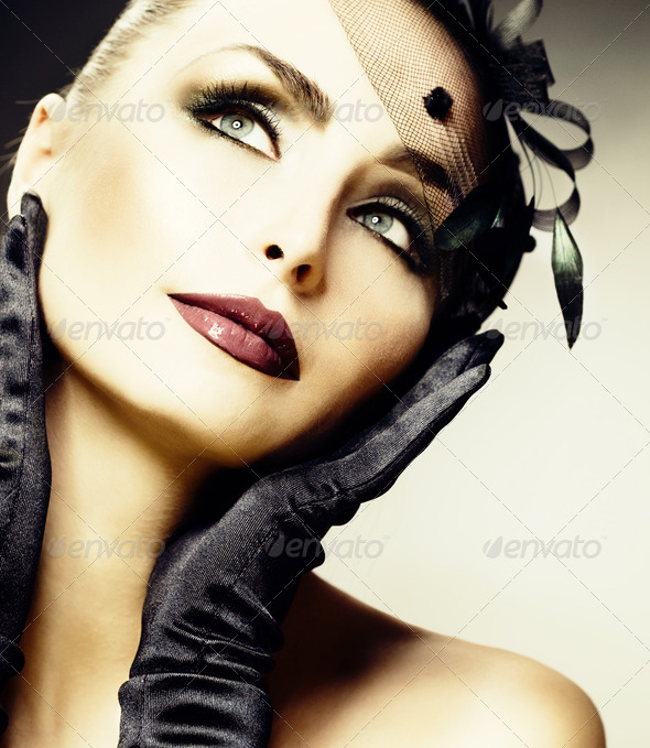 Beautiful Young Woman Portrait. Vintage Styled. Retro - Stock Photo - Images