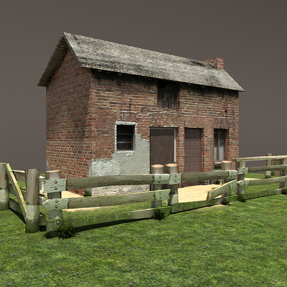 3DOcean Derelict House Barn Low Poly 11725041