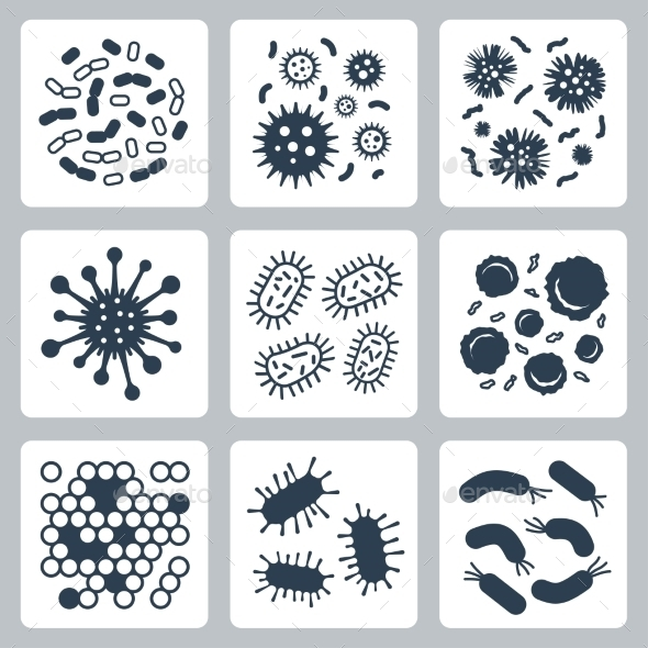 GraphicRiver Vector Bacteria Microbes Icon Set 11725418