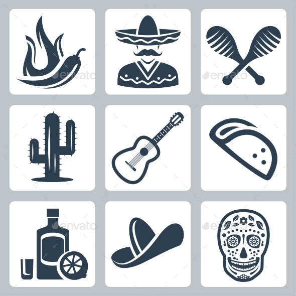 GraphicRiver Mexico Related Vector Icon Set 11725469