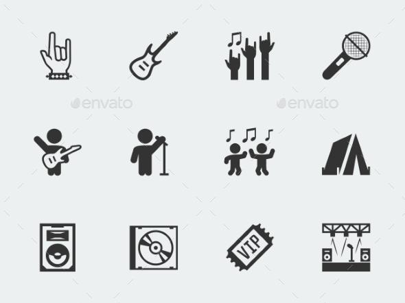 GraphicRiver Rock Festival Concert Vector Icon Set 11725530