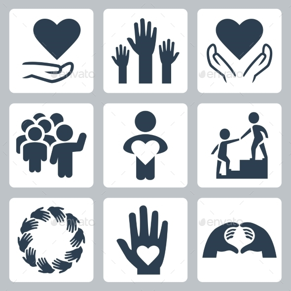 GraphicRiver Charity And Volunteer Icon Set 11725534