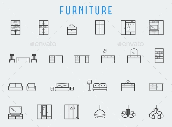 GraphicRiver Furniture Icon Set In Line Style 11725576