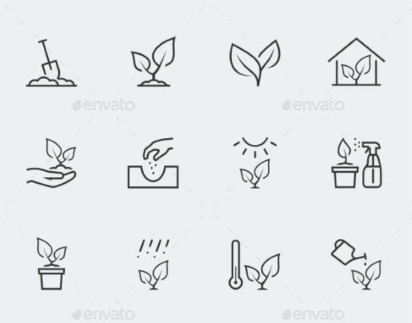 GraphicRiver Plant Related Vector Icon Set In Outline Style 11725650