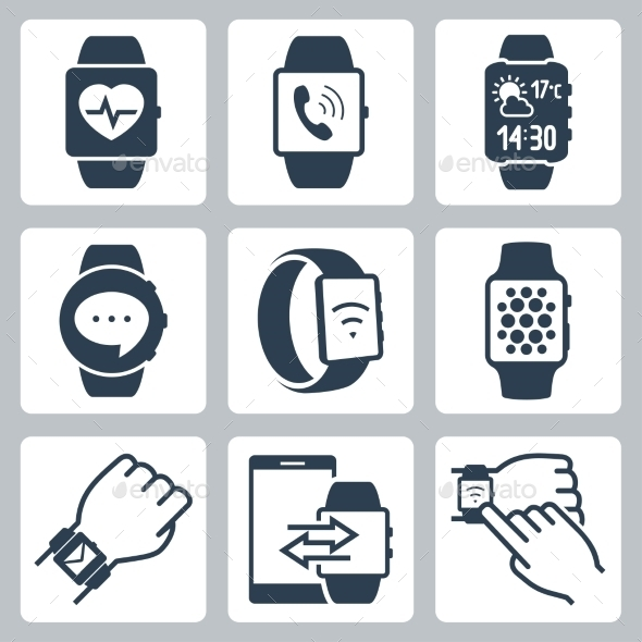 GraphicRiver Vector Icon Set Of Smart Watches 11725652