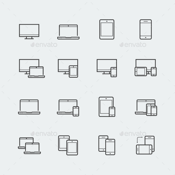 GraphicRiver Responsive Web Design Icons For Computer Monitor 11725653