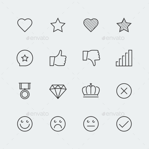GraphicRiver Icon Set Of Social Media Labels For Rating 11725831