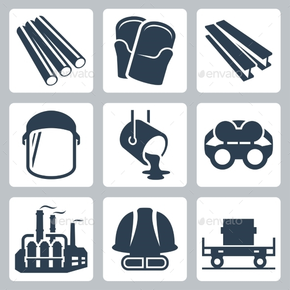 GraphicRiver Metallurgy Related Vector Icon Set 11725876