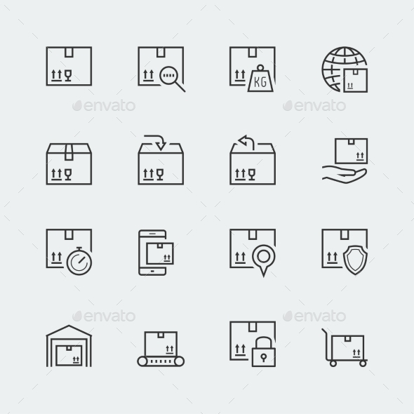 GraphicRiver Icon Set Of Packaging And Shipping 11725878