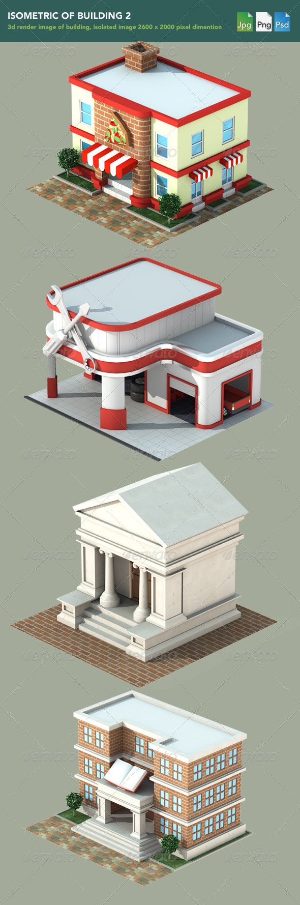 Isometric 3D Render of Building 2 - 3D Renders Graphics