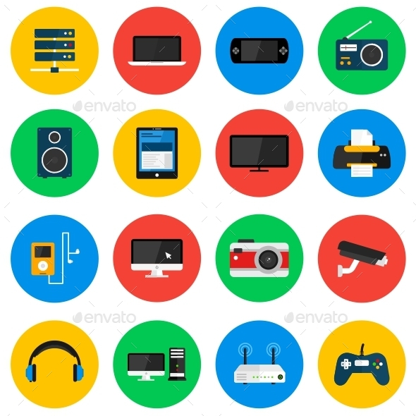 GraphicRiver Devices Circle Icons 11727260