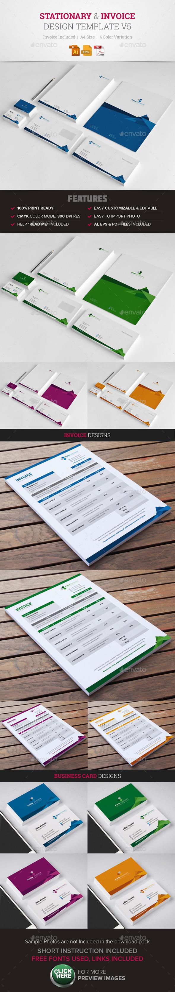 Stationary & Invoice Design Template v5