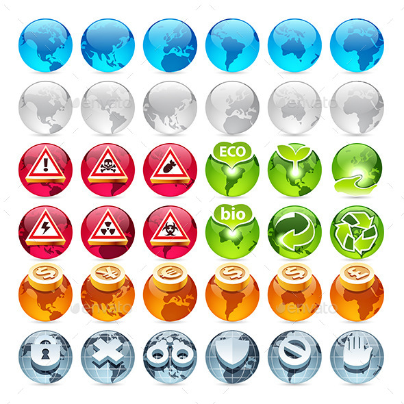 GraphicRiver Set of the Globe Icons 11728441