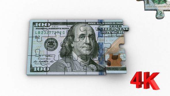 Puzzle with Image of New 100 Dollars