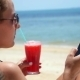 Young Woman Texting Message On Smartphone At Beach - VideoHive Item for Sale