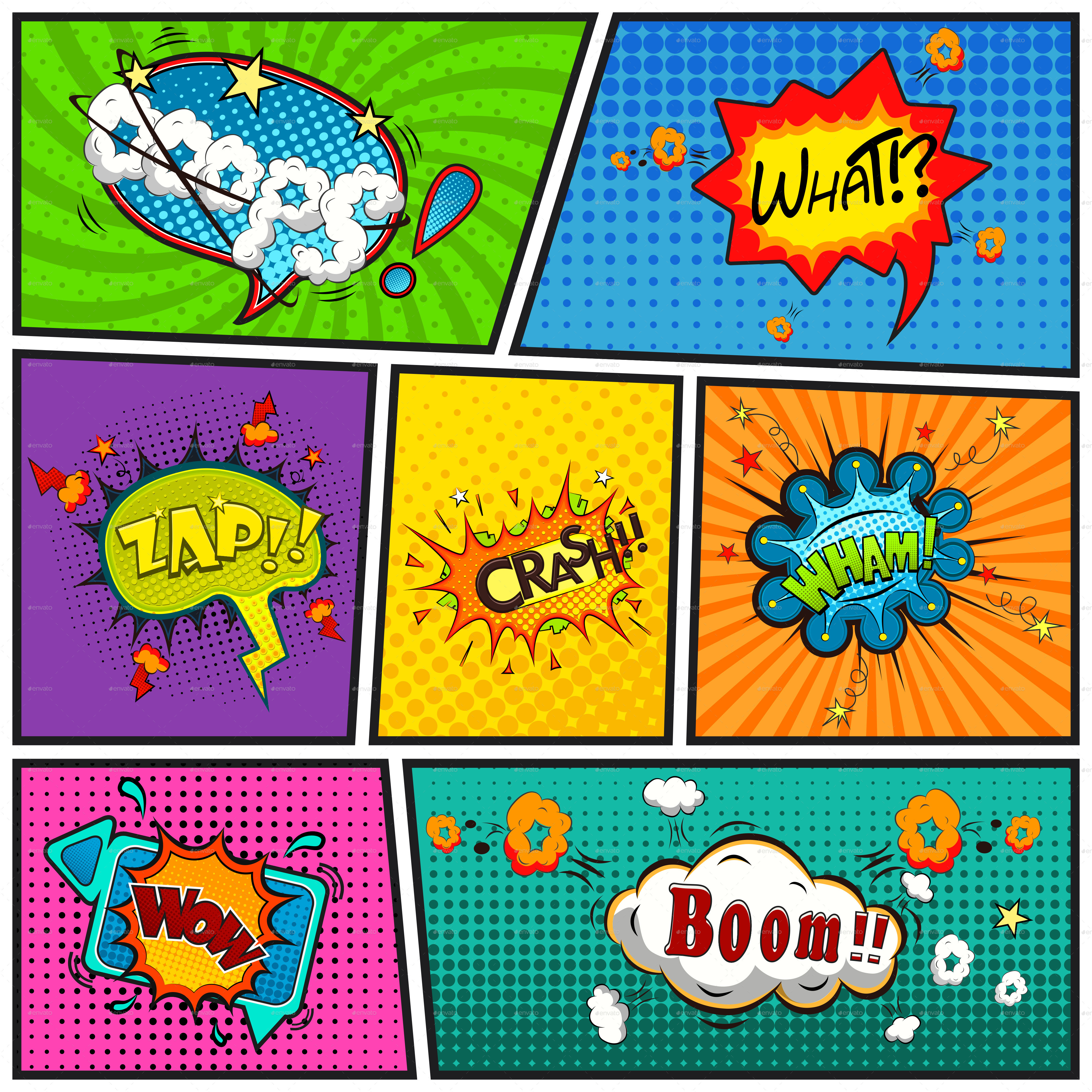 Comic speech bubbles background by yayasya graphicriver for Comic book template powerpoint
