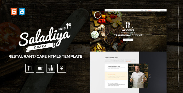 ThemeForest Saladiya Responsive Restaurant Cafe Html5 Template 11668921