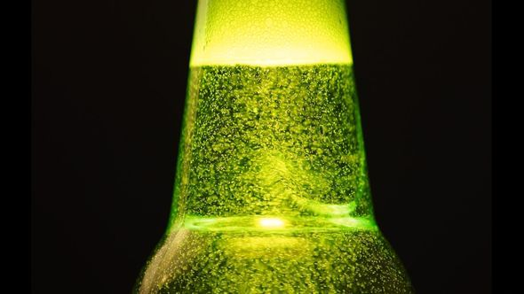 VideoHive A Green Bottle Neck With A Lot Of Bubbles 11734049