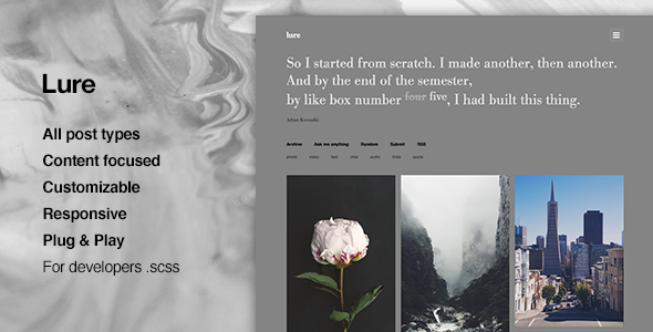 ThemeForest Lure Perfect Content Focus Tumblr Theme 11646280