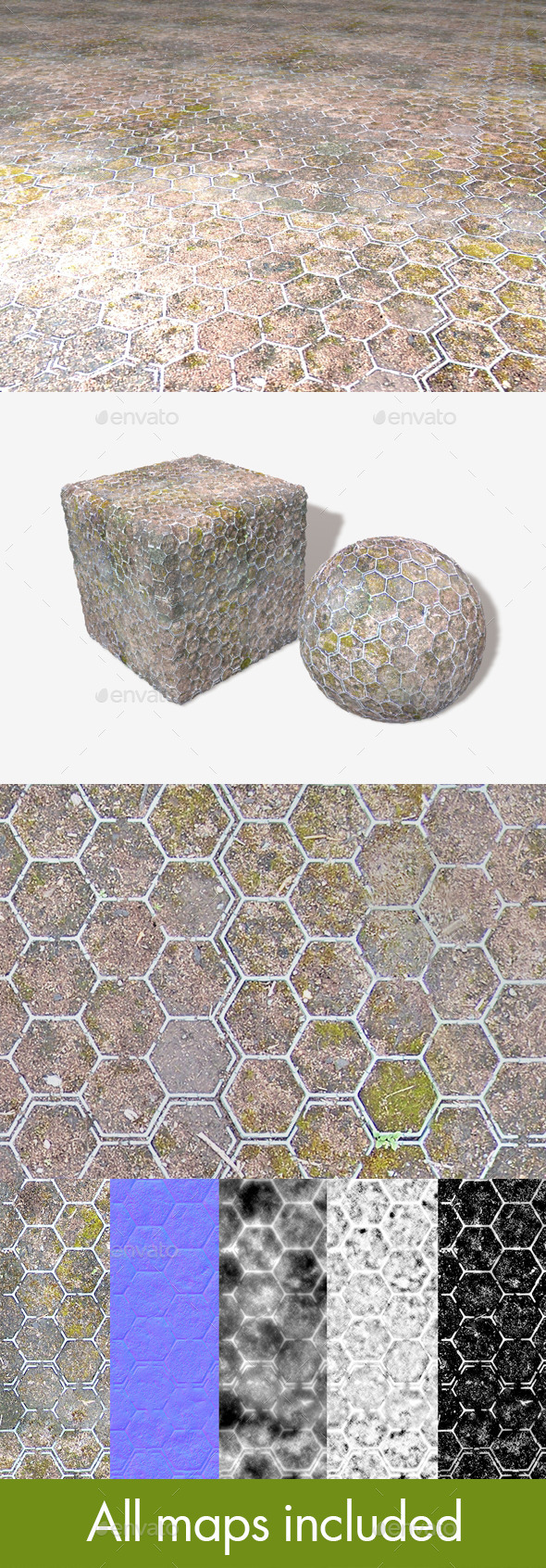 3DOcean Moss Hexagons Seamless Texture 11734828