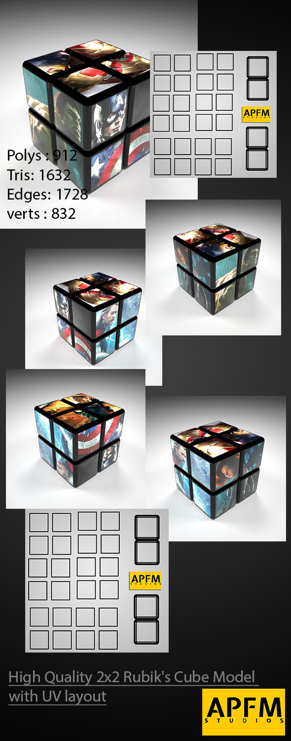 3DOcean High Quality 2x2 Rubik s Cube Model with UV layout 11723333