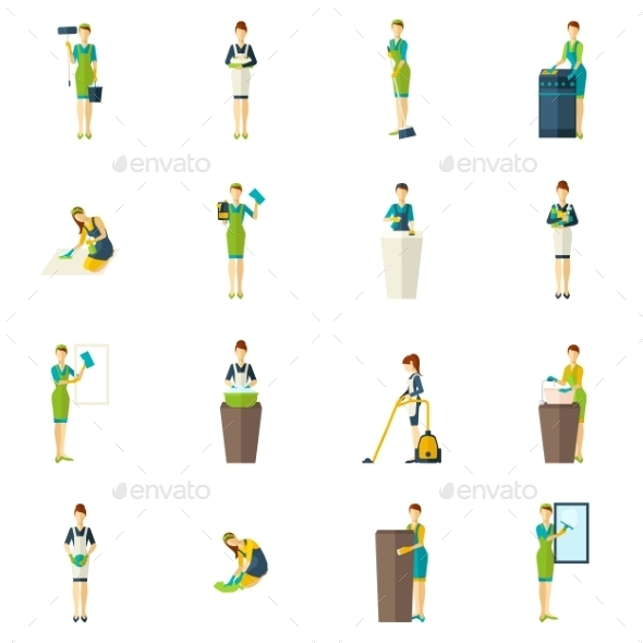GraphicRiver Cleaners Color Flat Icons Set 11735923